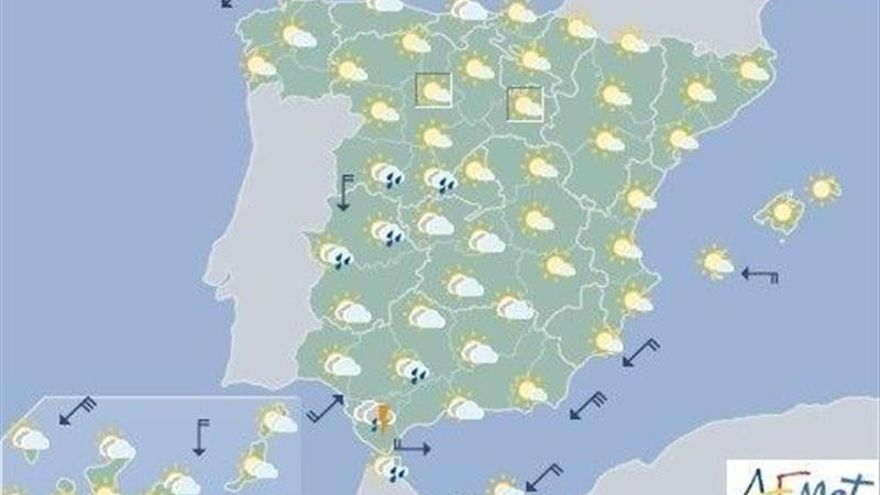 Hoy, tormentas fuertes en zonas de la mitad occidental y Pirineos