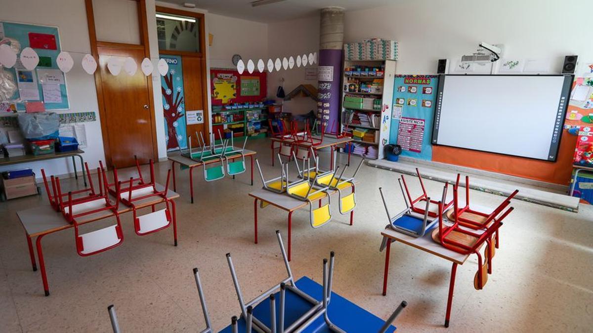 Aula vacía en un colegio público.