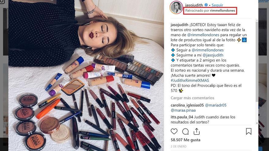 Publicación en Instagram de la influencer Judith Jaso utilizando la herramienta para identificar publicidad.