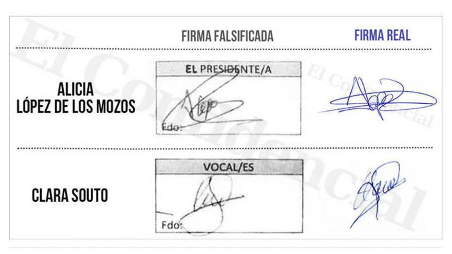 Las firmas reales y falsificadas. Imagen de El Confidencial.