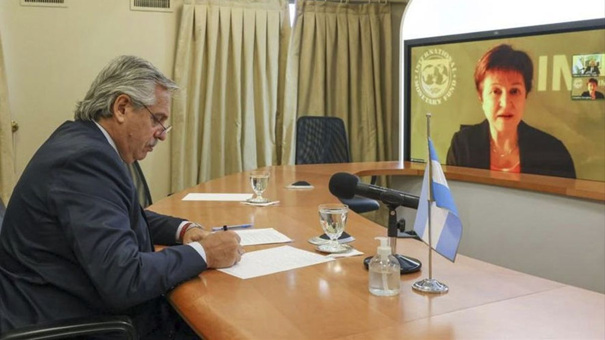 El Presidente se comunicó en enero con la titular del FMI a través de una videoconferencia.
