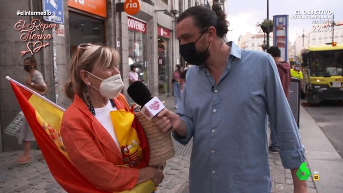 Una manifestante llora en 'El Intermedio'