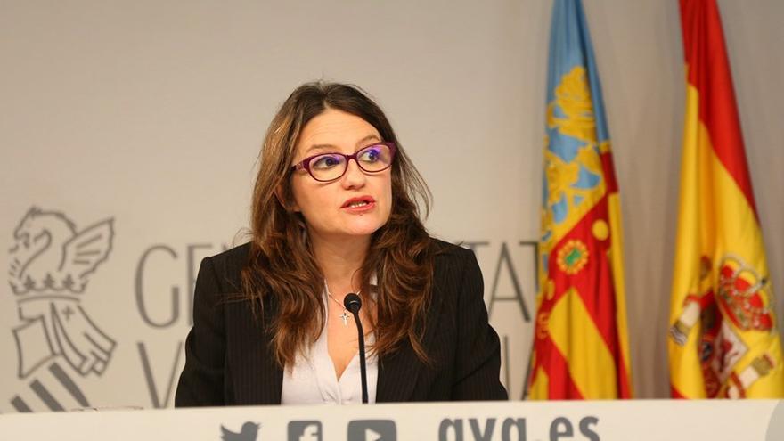 La vicepresidenta la Generalitat, Mónica Oltra, en la rueda de prensa tras el pleno del Consell