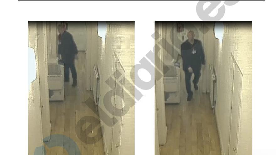 Capturas de las cámaras de vigilancia en las que se ve a un vigilante de la empresa de seguridad.