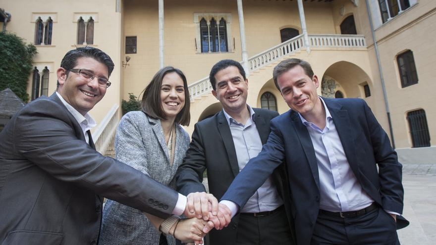 Jorge Rodríguez, Diana Morant, Toni Francés y Roger Cerdá, en Gandia.