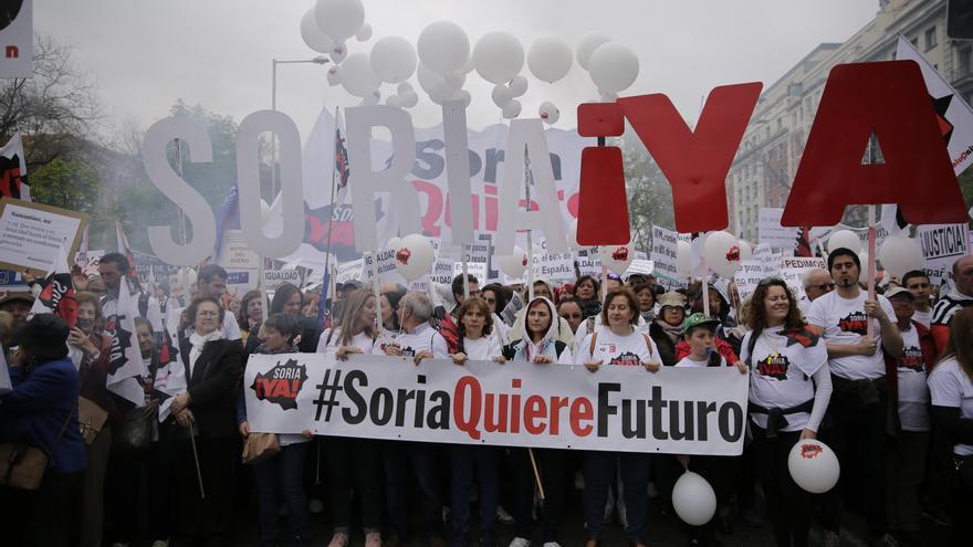 'Soria quiere futuro', una de las pancartas de la manifestación de la España vaciada