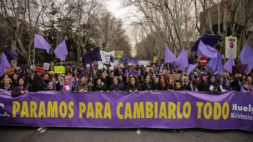 Manifestación feminista en Madrid el 8 de marzo de 2018