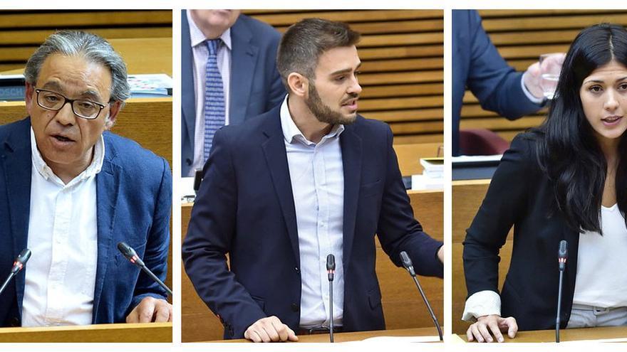 Los portavoces en las Corts de PSPV (Manolo Mata), Compromís (Fran Ferri) y Unides Podem (Naiara Davó).