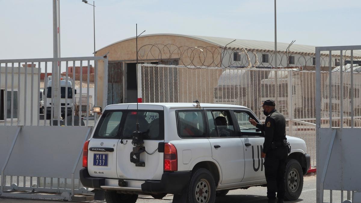 Un todoterreno de la ONU en el puesto fronterizo de Guerguerat