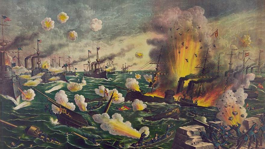 La batalla de Cavite, en la bahía de Manila, entre España y Estados Unidos, 1898.