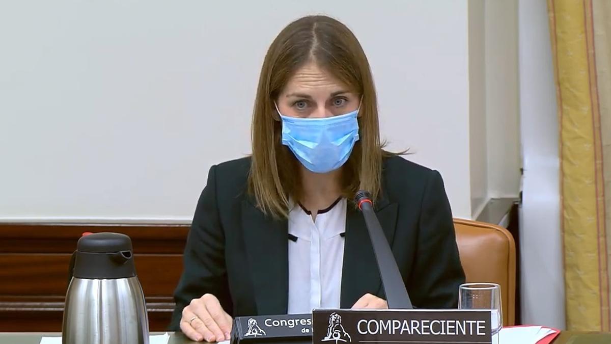 La presidenta del FROB, Paula Conthe, en una comparecencia en el Congreso.