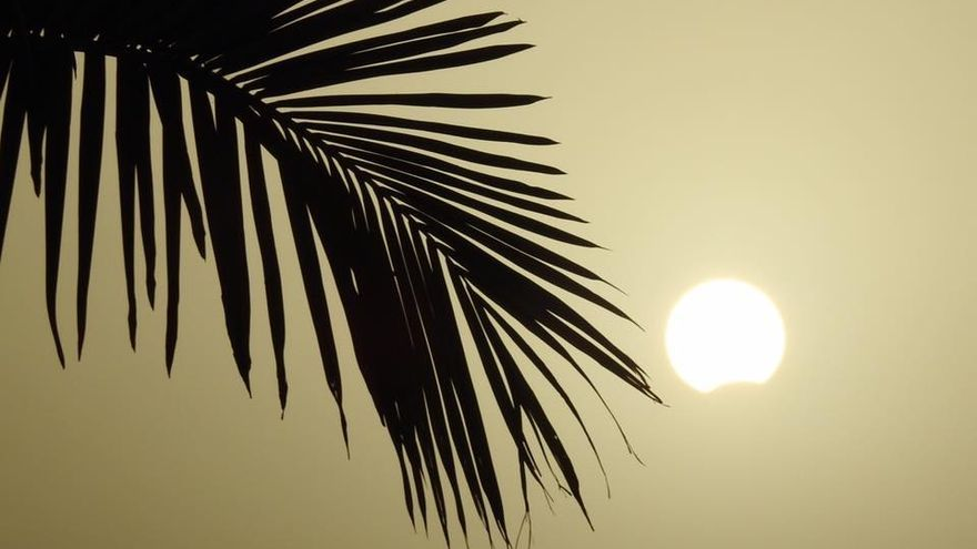 Eclipse del Sol del 21 de agosto, foto captada en Los Realejos, barrio de La Montaña