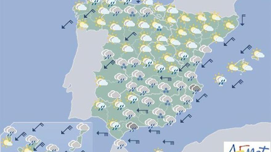 Hoy lloverá con fuerza en el sureste y subirán las temperaturas
