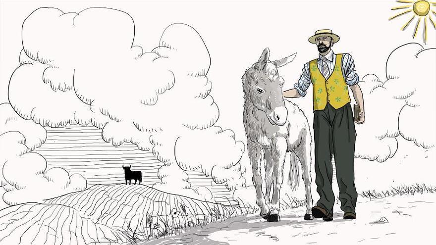 'Platero y Juan Ramón'. Ilustración de Carlos Guijarro realizada para El caballo de Nietzsche