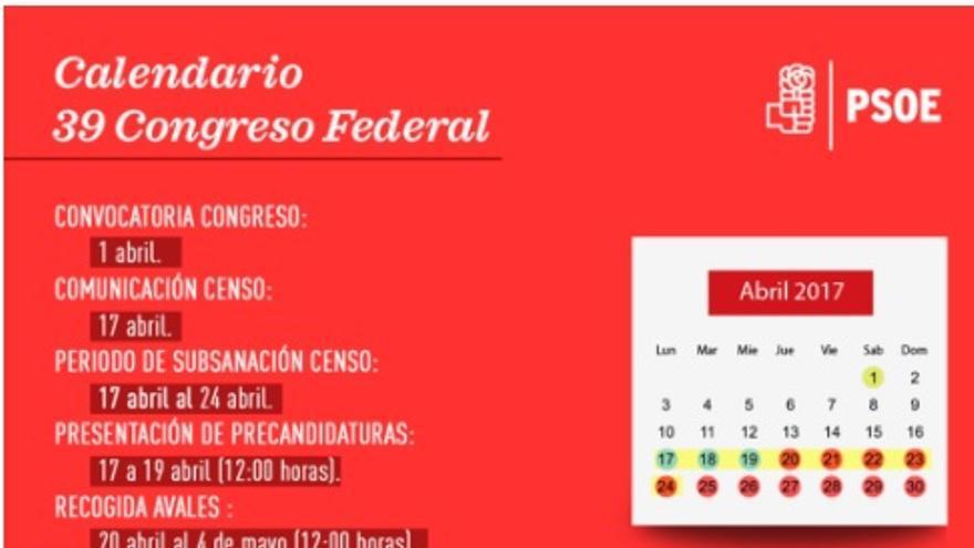 Calendario del 39º Congreso del PSOE