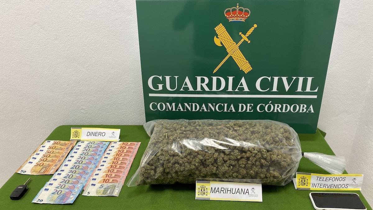 Marihuana aprehendida por la Guardia Civil en Pozoblanco.