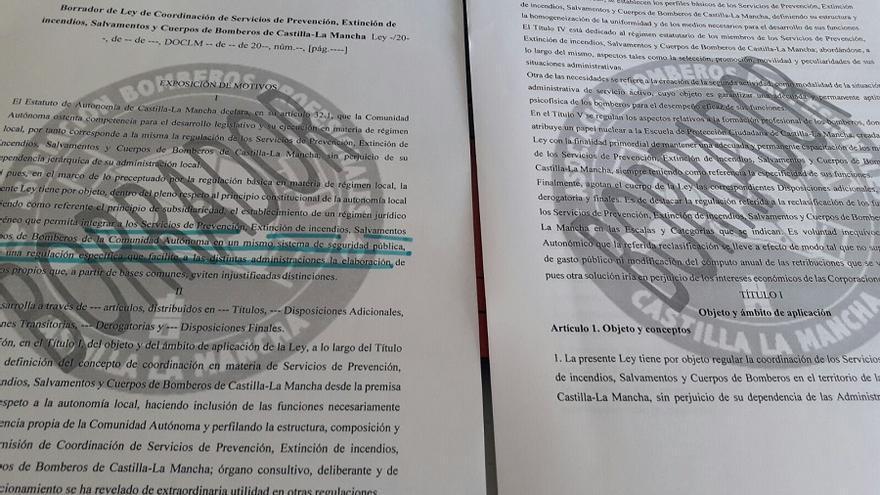 Imagen del borrador de la Ley de Coordinación de Servicios de Prevención, Extinción de incendios, Salvamento y Cuerpos de Bomberos de Castilla-La Mancha.