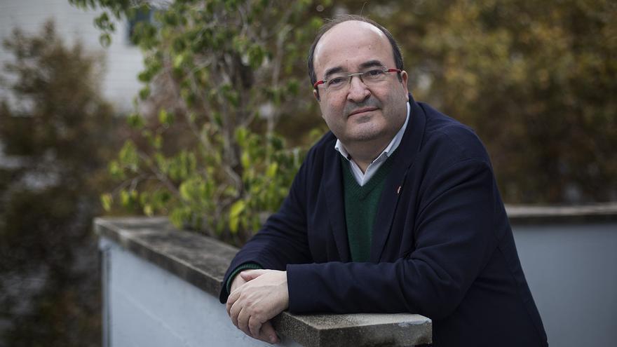 El primer secretario del PSC, Miquel Iceta, en la sede de su partido en Barcelona