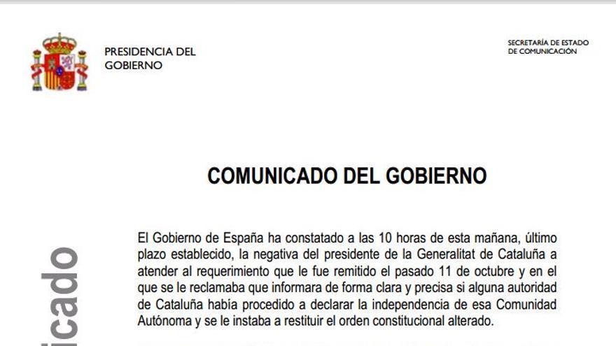 Comunicado del Gobierno a la respuesta de Carles Puigdemont