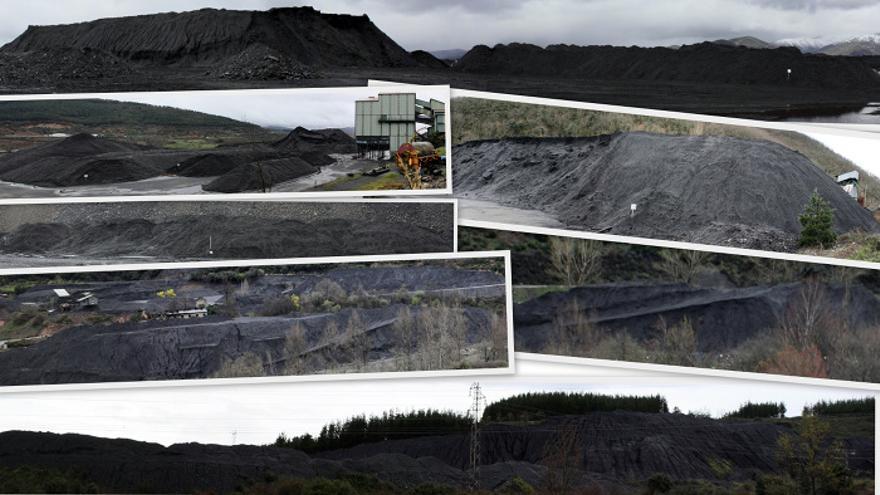 De arriba abajo, carbón de Alonso en emplazamientos como la Gran Corta, Jarrina, Caleyo, Alinos, San Luis, Fabero o Cubillos del Sil.