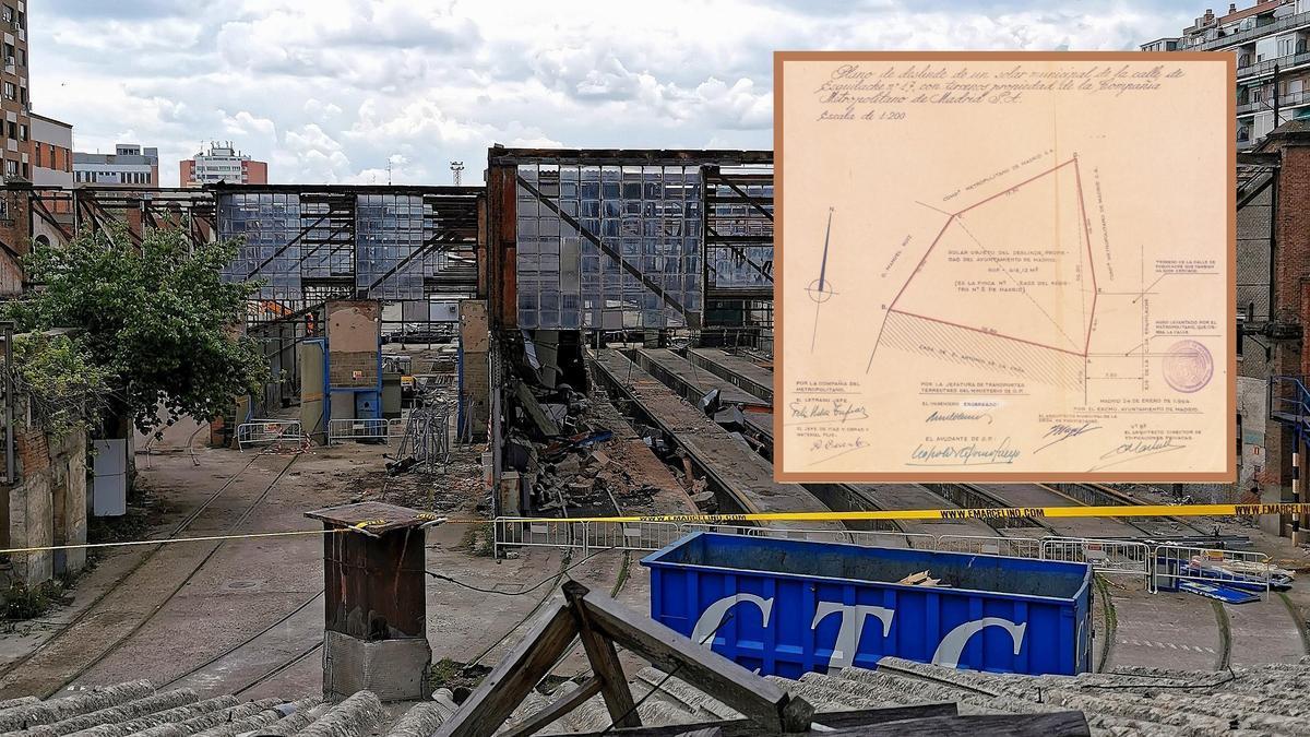 Vista de la demolición de las Cocheras de Cuatro Caminos, junto al plano de la finca municipal hallada en los terrenos