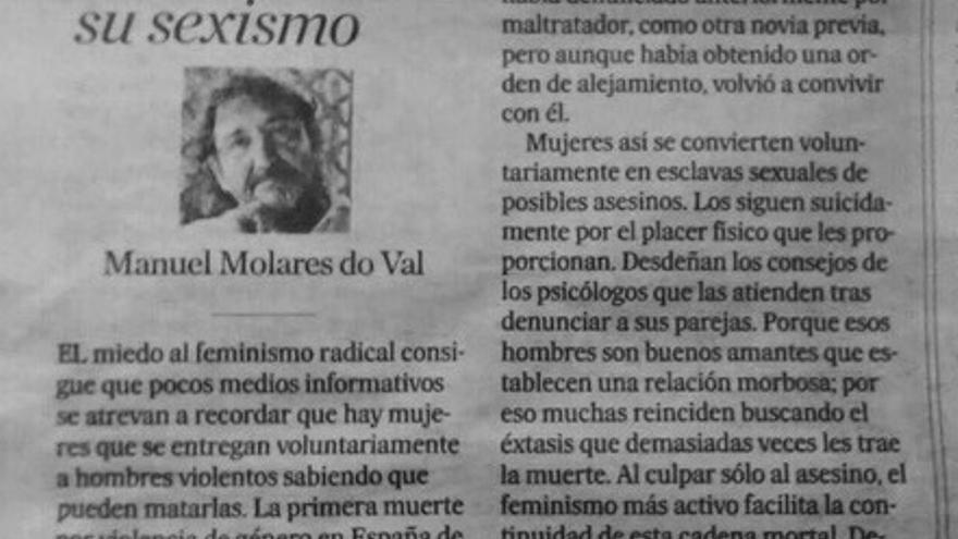 Artículo machista Manuel Morales