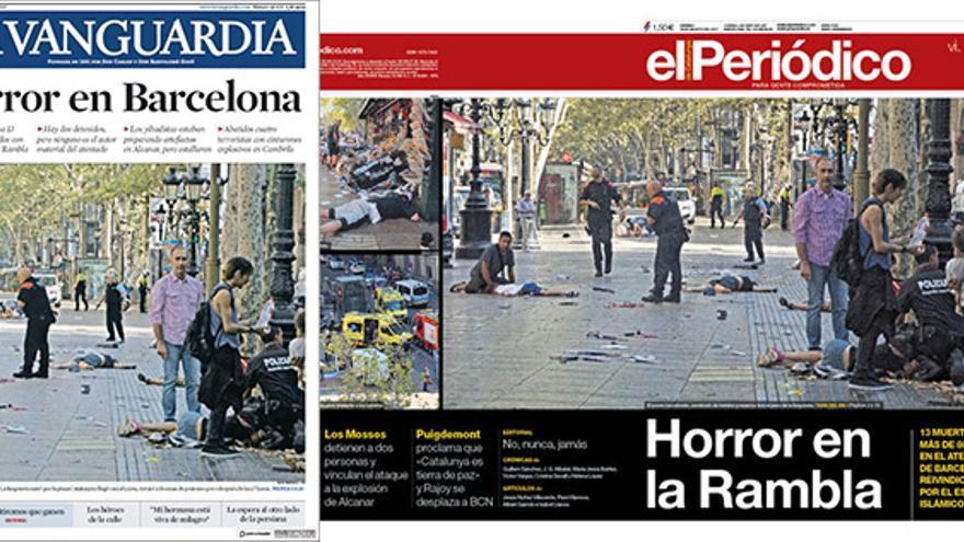 Portadas de La Vanguardia y El Periódico
