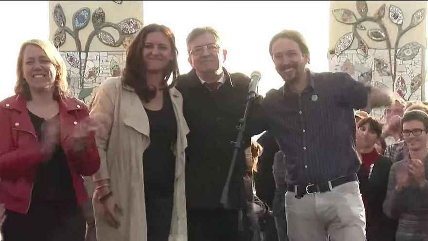 Marisa Matías, Jean-Luc Mélenchon y Pablo Iglesias