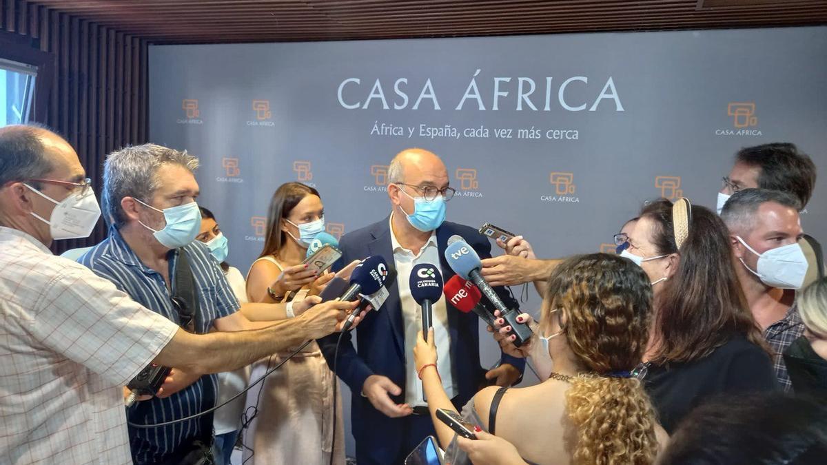Anselmo Pestana, en la inauguración de la jornada 'Retos estratégicos del escenario migratorio hacia Europa por vía atlántica para el horizonte 2030' en Casa África