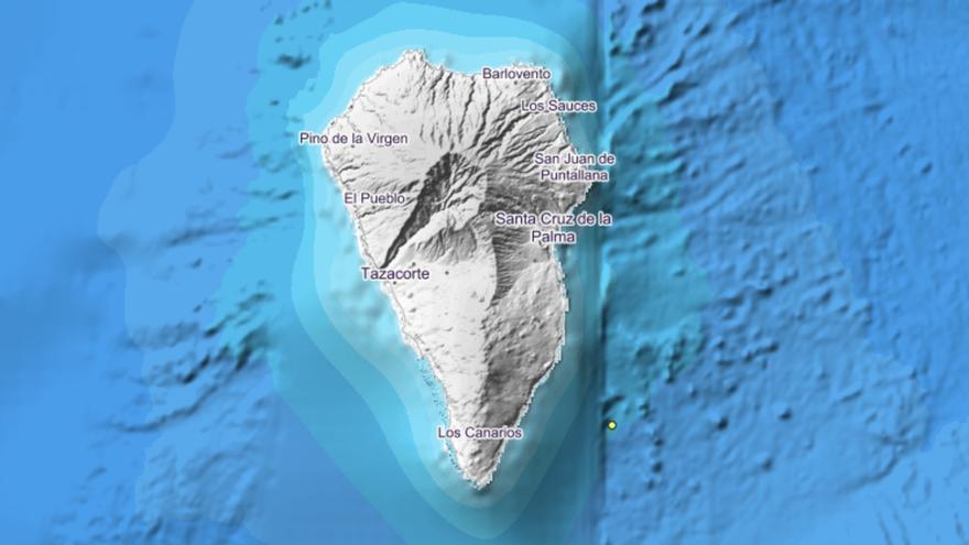 Imagen del IGN donde se indica con un círculo el epicentro del movimiento sísmico localizado este sábado, 15 de junio, frente a la costa de Villa de Mazo.
