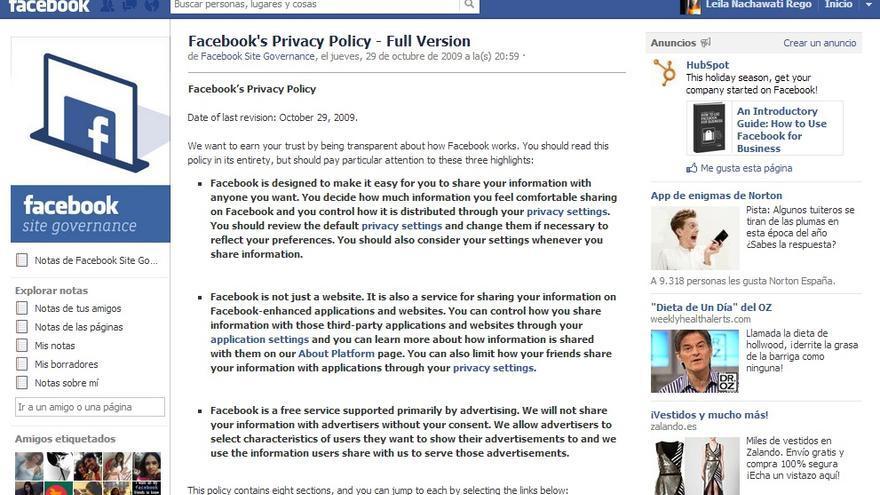 Página de la política de privacidad de Facebook