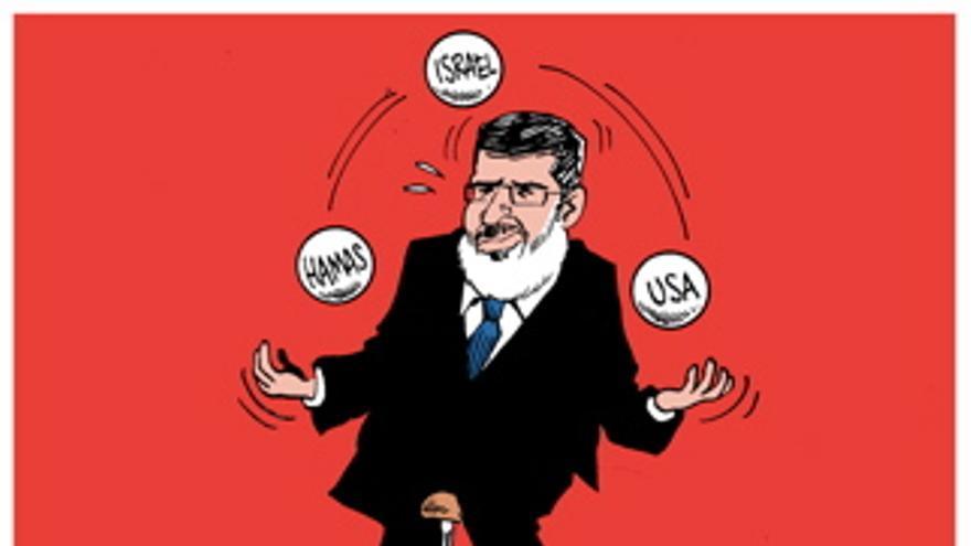 Morsi haciendo malabarismos para mantener sus buenas relaciones con EEUU, Israel y Hamás. Por Carlos Latuff