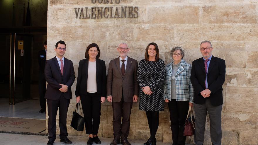 El alcalde de Alboraia, Miguel Chavarría (tercero por la izquierda), y la diputada Mercedes Caballero, a su derecha, frente a las Corts Valencianes.