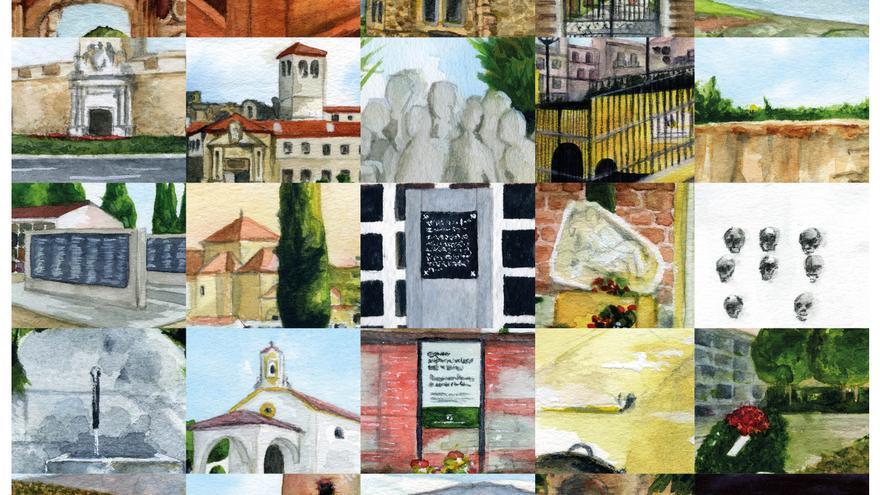 Mosaico con acuarelas de 'Lugares de Memoria de Andalucía'.   CANDELARIO G. FLORES