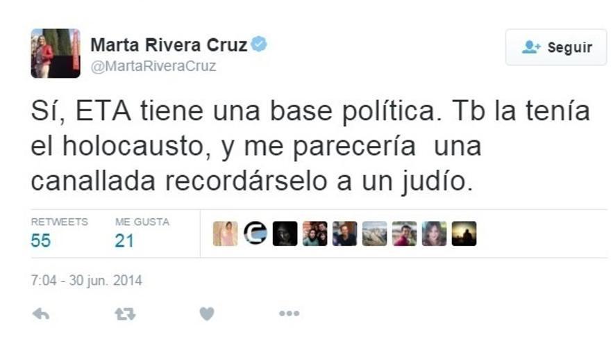 Marta Rivera dice que no se la puede comparar con Zapata y que no puede dimitir porque sólo es candidata