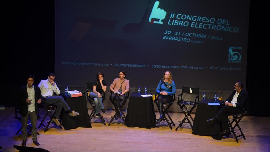 Los fundadores de las cinco start up presentadas en el Congreso// Foto: Álvaro Calvo @congresoEbook