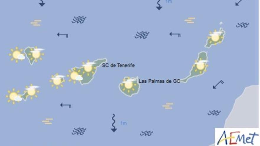 Mapa con la previsión meteorológica para este domingo, 16 de abril de 2017