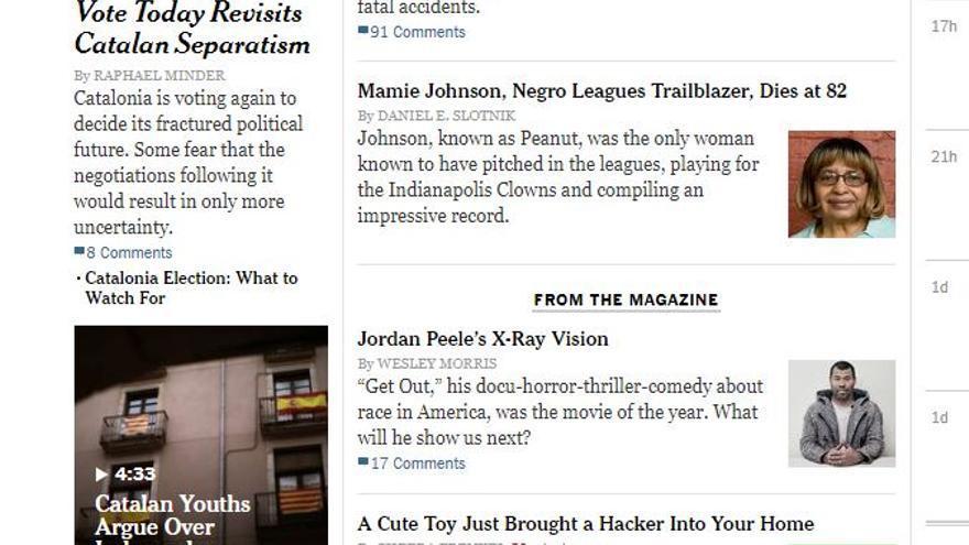 Portada de The New York Times