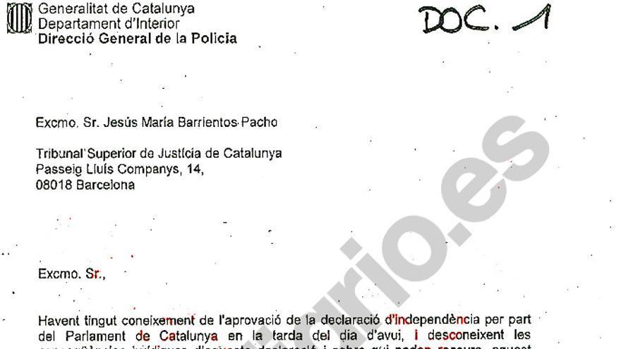 Carta de Trapero al presidente del Tribunal Superior de Justicia de Catalunya