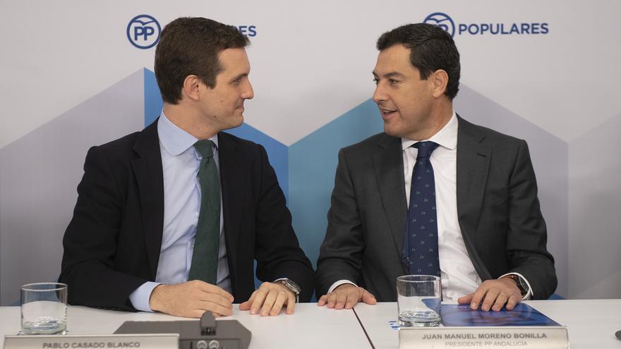 Pablo Casado y Juanma Moreno, el pasado lunes, en Génova.
