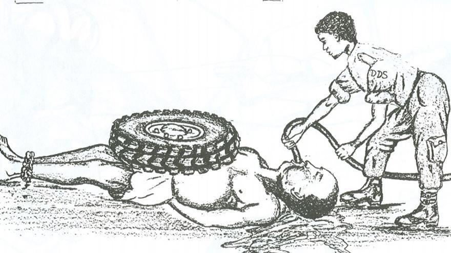 Bocetos de las técnicas de tortura empleadas por las fuerza de seguridad de Habré  publicadas en el informe de la Comisión de Investigación del Chad en 1992