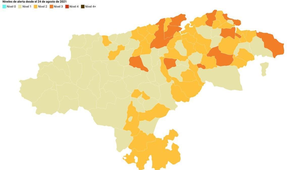 Semáforo COVID de los municipios que entrará en vigor a las 00.00 horas del 26 de agosto.