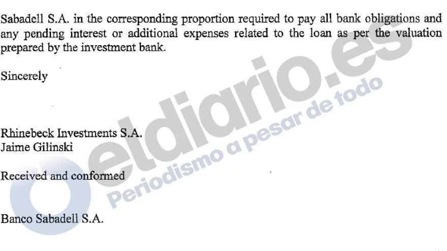 Extracto de la carta de Gilinski a Banco Sabadell.