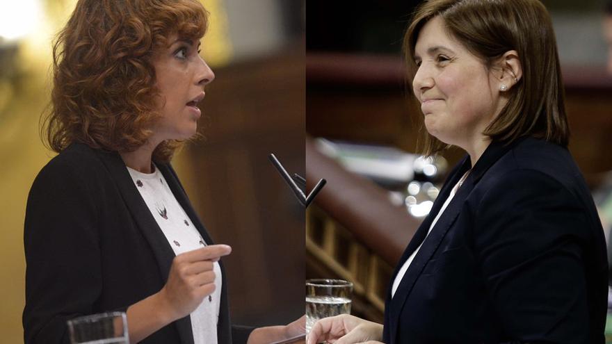 Alexandra Fernández (En Marea) y Pilar Cancela (PSOE), durante el pleno