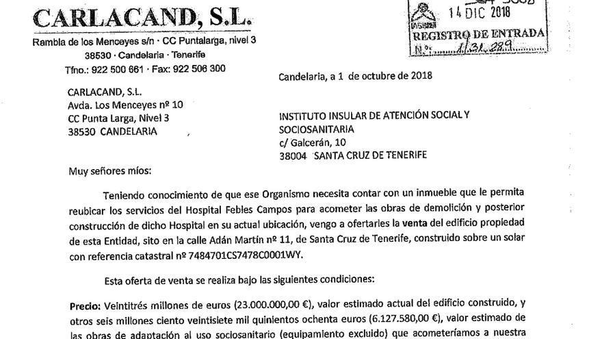 Oferta presentada por la empresa Carlacand SL para la venta del inmueble de la polémica.