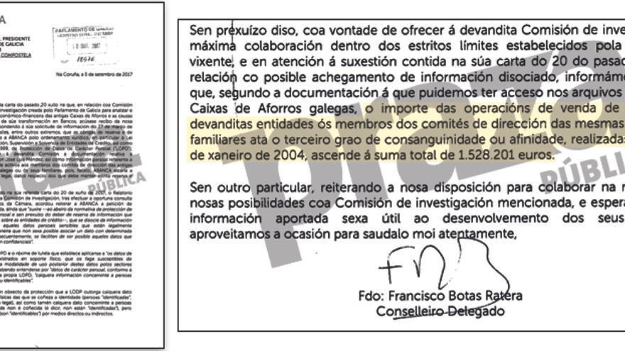 Fragmentos de la carta remitida por Abanca al Parlamento gallego