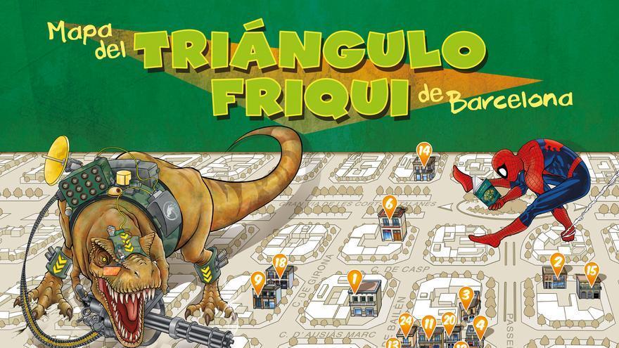 El mapa del Triángulo Friqui de Barcelona reúne 23 comercios dedicados a la literatura fantástica y los cómics