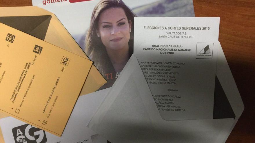 Papeletas de ASG al Senado y de CC al congreso por Santa Cruz de Tenerife.