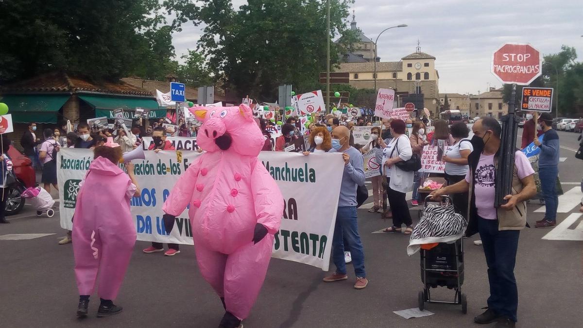 Manifestación de Castilla-La Mancha Stop Macrogranjas en Toledo