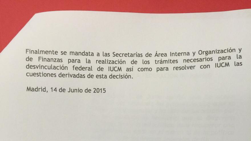 Propuesta de desvinculación de IUCM